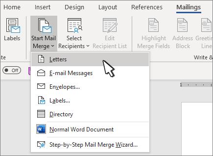 Menú Inicio de combinación de correspondencia con las letras seleccionadas