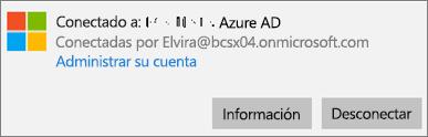 Haga clic o pulse Información en el diálogo Conectado a Azure AD.