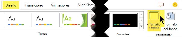 El botón de tamaño de diapositiva está en el extremo derecho de la ficha Diseño de la cinta de opciones de la barra de herramientas