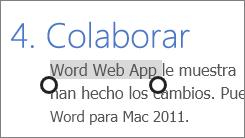Selección de texto en el modo táctil de Office Online