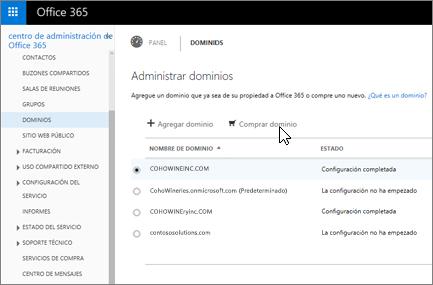 En la página Administrar dominios, elija Comprar dominio.