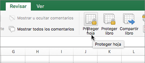Proteger la opción de la hoja en la cinta de opciones