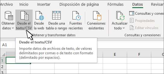 Seleccionar texto o CSV en la pestaña datos