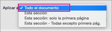 Menú Aplicar a, con la opción Todo el documento resaltada.