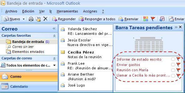 Barra Tareas pendientes de Outlook con cuatro tareas