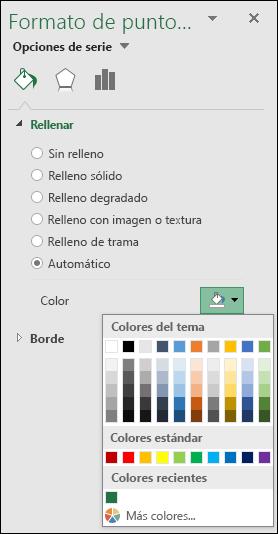 Opciones de color de gráfico de mapa de Excel para gráficos de categorías