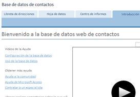 pantalla de introducción de la plantilla base de datos de contactos