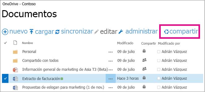 Compartir un archivo desde la biblioteca de OneDrive para la Empresa