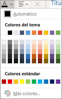 Captura de pantalla de la opción Color de fuente en el menú Inicio.