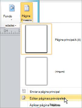 Seleccione Editar páginas principales en el menú de páginas principales