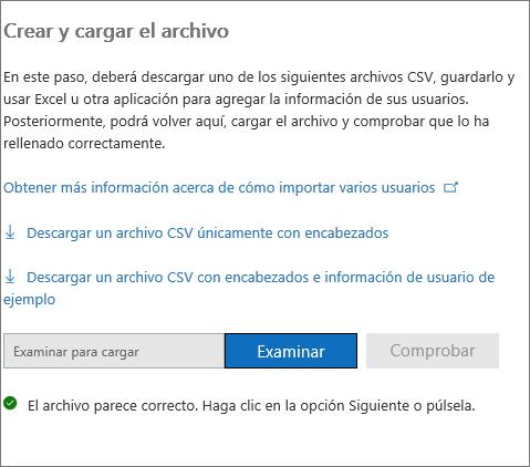 Se ha comprobado el archivo CSV.