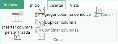 Key Tips de la cinta de opciones Editor de consultas
