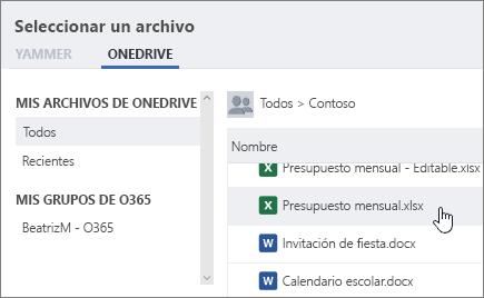 Captura de pantalla en la que se muestra el cuadro de diálogo del selector de archivos de Yammer, con la pestaña de OneDrive seleccionada.