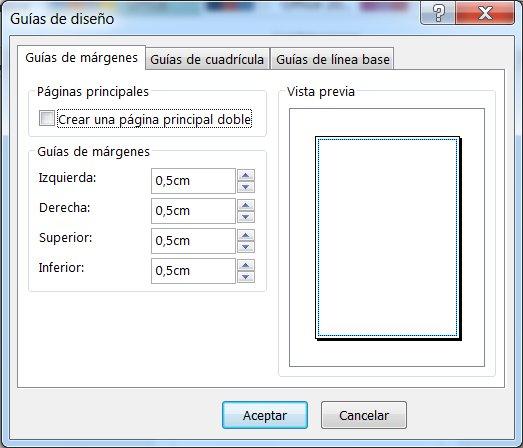 Cuadro de diálogo Guía de diseño de Publisher