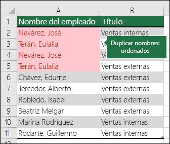 Formato condicional con valores duplicados ordenados en la parte superior de una lista
