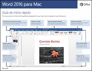 Guía de inicio rápido de Word 2016 para Mac