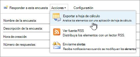 Encuesta botón Exportar a hoja de cálculo resaltado