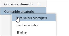 Captura de pantalla del menú contextual Carpetas con la opción Crear subcarpeta seleccionada