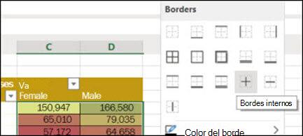 Imagen de aplicar un borde interior a un rango de celdas desde casa > fuente > bordes.