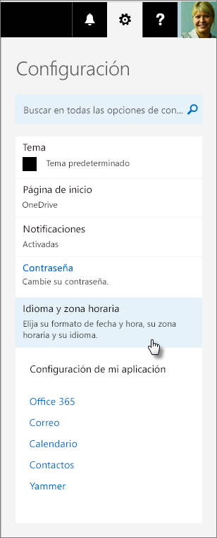 Panel Configuración de Office 365.