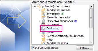 Exportar contactos