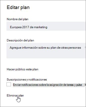 Desde un plan de edición, haga clic en Eliminar plan