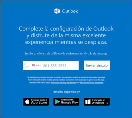 Puede escribir su número de teléfono para instalar Outlook para iOS o Outlook para Android.
