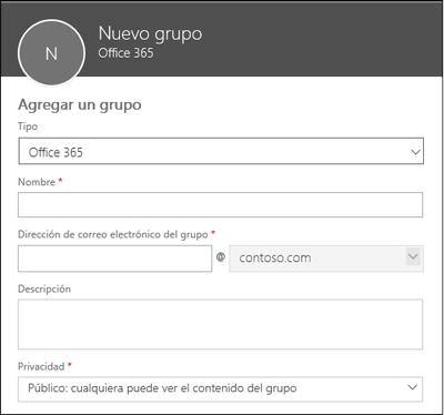 Crear un nuevo grupo de Office 365, una nueva lista de distribución o un nuevo grupo de seguridad
