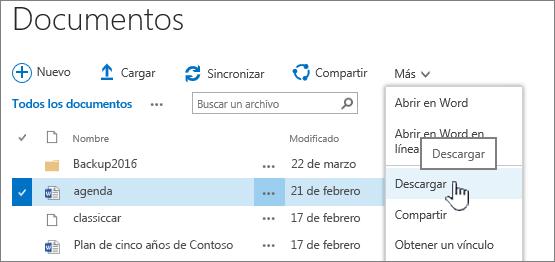 Opción Descarga de archivos