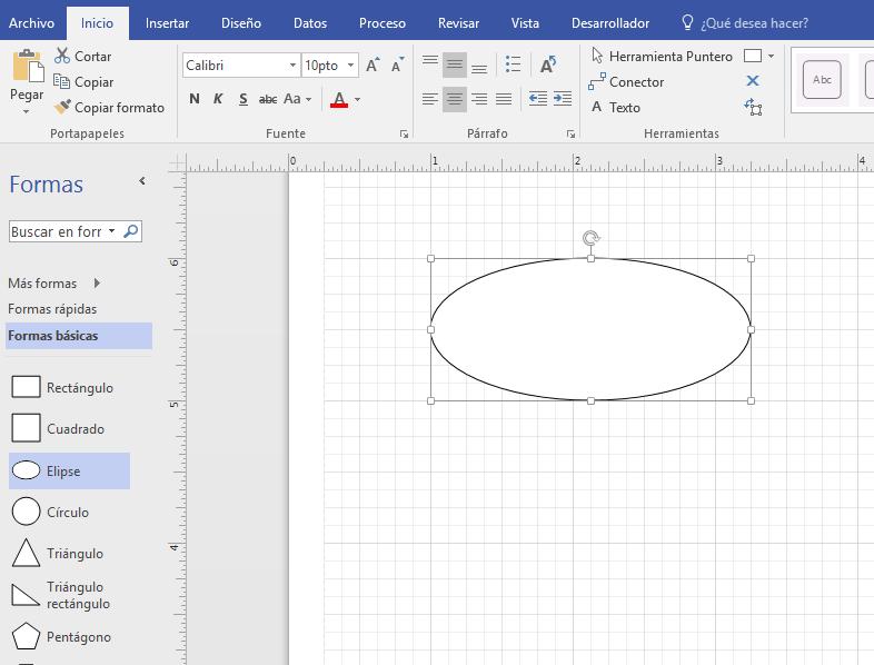 Arrastre una forma desde la Galería de símbolos Formas básicas en el panel de dibujo.
