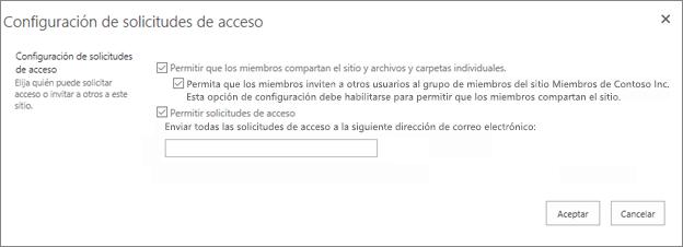 Panel de solicitud de acceso