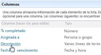 Sección Columnas de la configuración de lista