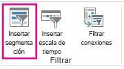 Botón Insertar segmentación de datos en la pestaña Análisis