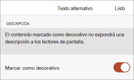 La opción Marcar como decorativo seleccionada en el cuadro de diálogo Texto alternativo en PowerPoint para iOS.