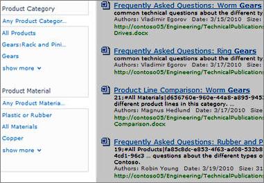 El panel de refinamiento muestra los metadatos que se pueden usar para filtrar los resultados de una búsqueda.