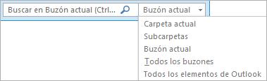 En Outlook, use el cuadro de búsqueda o elija una carpeta o una lista de buzones para buscar el grupo Ámbito.