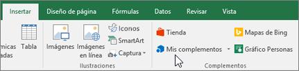 En la pestaña Insertar de la cinta de opciones, encontrará el grupo de complementos para administrar complementos de Excel
