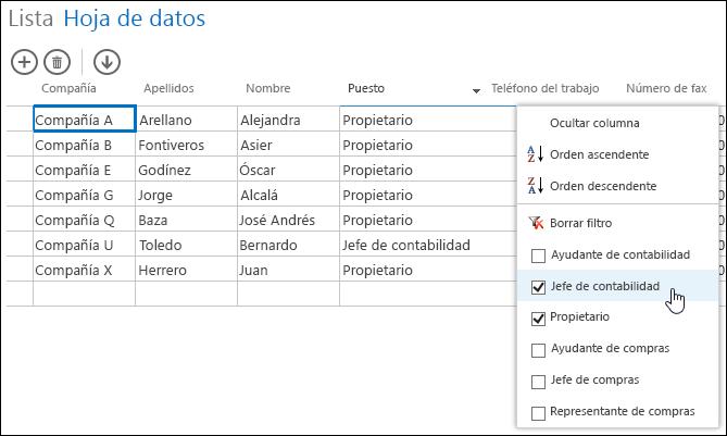 Opciones de filtro para la columna Puesto de la hoja de datos