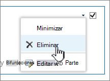 Lista de configuración de elementos de aplicación con eliminar resaltada