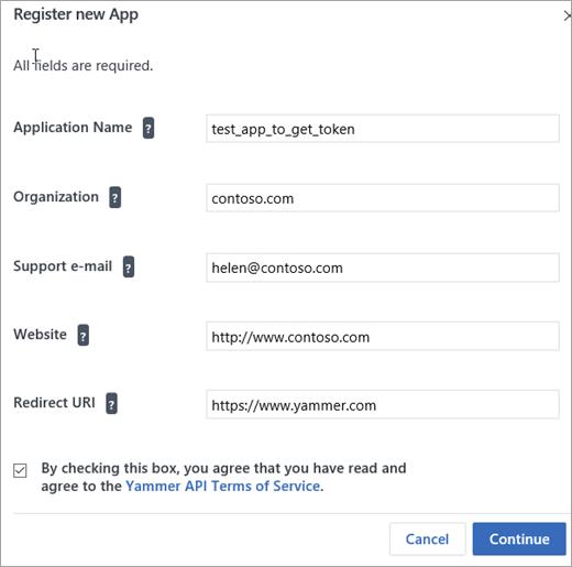 Página de detalles para crear una nueva aplicación de Yammer