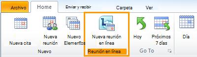 Imagen de cinta de opciones de Outlook
