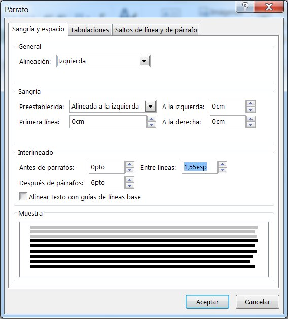Captura de pantalla del cuadro de diálogo Párrafo en Publisher.