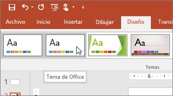 Captura de pantalla del Tema de Office en la pestaña Diseño