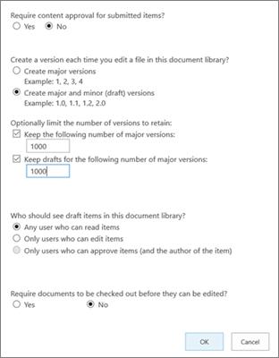 Opciones de configuración de biblioteca en SharePoint Online, que muestran el control de versiones habilitado