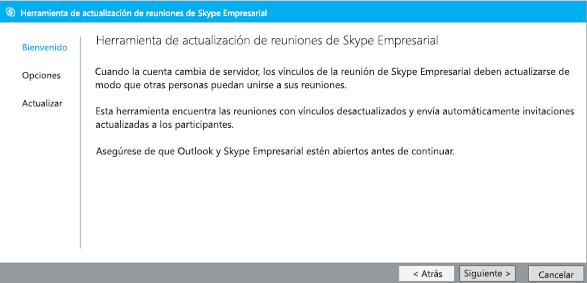Captura de pantalla de la página principal de la Herramienta de actualización de reuniones de Lync