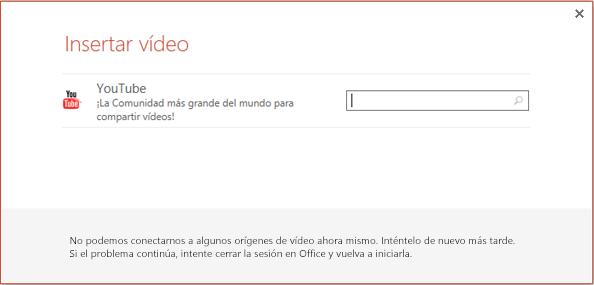 Este es el cuadro de diálogo Insertar vídeo en línea de PowerPoint 2013.