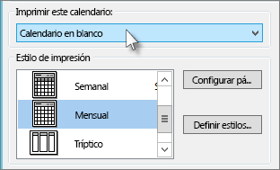 Seleccione el nombre del calendario que desea imprimir