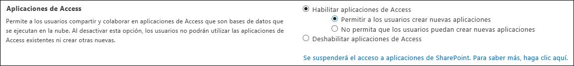 Captura de pantalla de la configuración de la aplicación de Access en la página del centro de administración de SharePoint