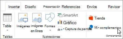 Captura de pantalla de una sección de la ficha Insertar en la cinta de opciones de Word con un cursor apuntando a Mis complementos seleccione Mis complementos para tener acceso a los complementos de Word.