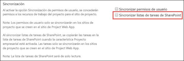 Sincronizar listas de tareas de SharePoint